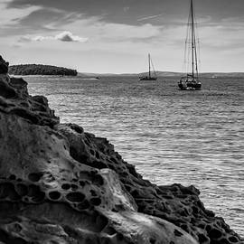 Adriatic Seascape, Nosail Sailboat and Beach Stone by Silvijo Selman