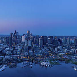 Aerial Mount Rainier and Seattle Panorama by Mike Reid