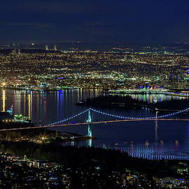 Aerial Night View at Vancouver Harbor  by Alex Lyubar