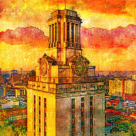 Aerial of the Main Building of the University of Texas at Austin - digital painting by Watch And Relax