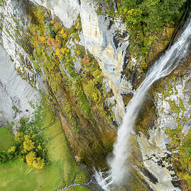 Aerial view from waterfall in Switzerland by Rick Neves