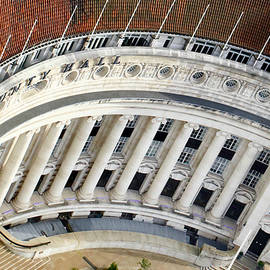 Aerial view of County Hall, London, England by Joe Vella