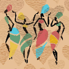 African valentines dance, african ladies in colorful dresses,wavy valentines hearts seamless pattern by Mounir Khalfouf