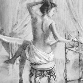 After the Bath Grayscale by Steve Henderson