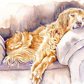 After the Lunch - Golden Retriever by Debra Hall