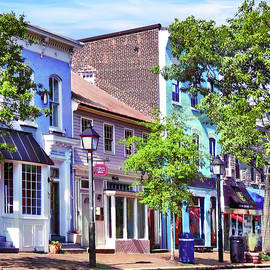 Alexandria VA - Blue Buildings on King Street by Susan Savad