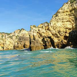Algarve Gold Coast Magic - Jewel Toned Sail by the Sea Cliffs in Lagos Portugal by Georgia Mizuleva