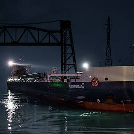 Algoma Niagara's Blue Hour Arrival in the Port of Chicago by Christine Douglas