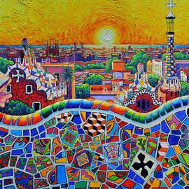 AMAZING BARCELONA PARK GUELL SUNRISE textural impasto palette knife oil painting Ana Maria Edulescu by Ana Maria Edulescu