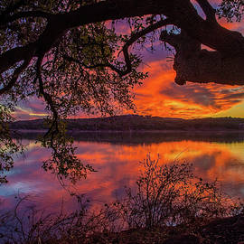 Amazing Oak Sunset at Boerne City Lake by Lynn Bauer