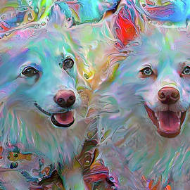 American Eskimo Dogs - Koki and Bizzy by Peggy Collins