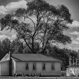 Amish Schoolhouse in Black and White by Janice Pariza