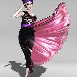 Amparo, dressed in pink plastic by Joaquin Abella