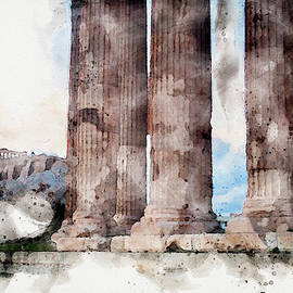 Ancient Athens Digital Watercolor by Cassi Moghan