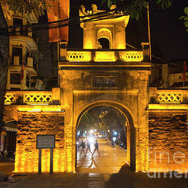 Ancient Gate Wall Hanoi Night Photo Color Asia  by Chuck Kuhn