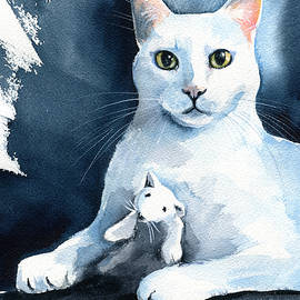Andy Warhol - White Cat Painting by Dora Hathazi Mendes