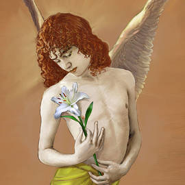 Angel Holding A Lily 2 by Dominique Amendola