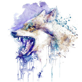 Angry Wolf Profile Portrait by Marian Voicu