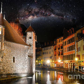 Annecy french city by night with beautiful starry sky by Gregory DUBUS