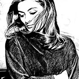 Anouk Aimee - Digital Charcoal by Juan Caicedo
