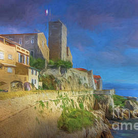 Antibes Sea Wall, France 2, Painterly by Liesl Walsh