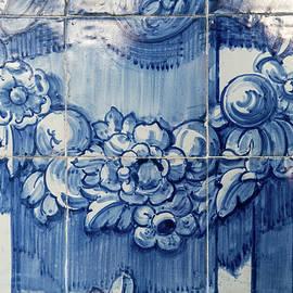 Antique Portuguese Azulejo - Lustrous Stylized Botanical Garlands by Georgia Mizuleva