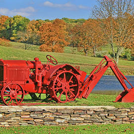 Antique Red Tractor and Hoe by Allen Beatty