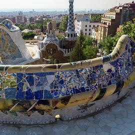 Antoni Gaudi Serpentine Bench Park Guell Barcelona - Geometric Blue Bits Mosaic Segment by Georgia Mizuleva