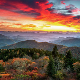 Appalachian Mountains North Carolina Blue Ridge Parkway Autumn Sunset Landscape Asheville NC by Dave Allen