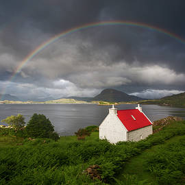 Applecross Red Roofed Cottage with Rainbow by Derek Beattie