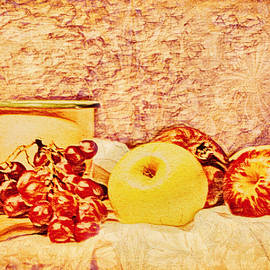 Apples and Grapes Still Life by KaFra Art