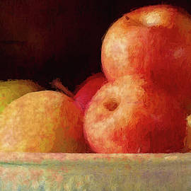Apples In A Pale Blue Bowl by David Beard