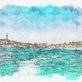 Aquarelle sketch art. Boat trip Rovinj. View to the city. by Beautiful Things