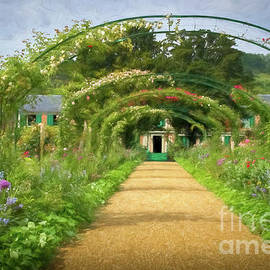Arbor Walkway To Monet's Home, Giverny, Painterly by Liesl Walsh