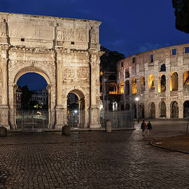Arch of Constantine and Colosseum by Night in Rome by Artur Bogacki