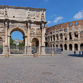 Arch of Constantine and Colosseum in Rome by Artur Bogacki
