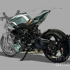 Arete Americana Ducati Motorcycle Art by Drawspots Illustrations