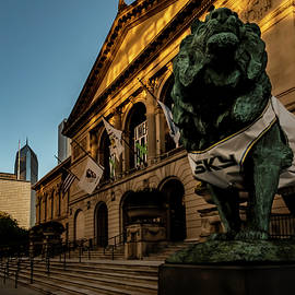 Art Institute Lion Wears jersey of WNBA Champs Chicago Sky by Sven Brogren