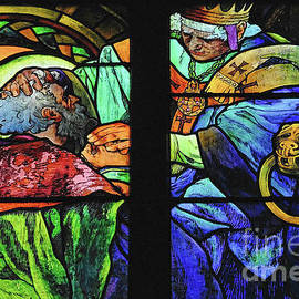 Art Nouveau Alphonse Mucha Cyril and Methodius glass, Prague Cathedral, Czechia / Czech Republic by Terence Kerr
