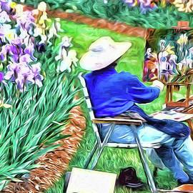 Artist In the Iris Garden - Photopainting by Allen Beatty