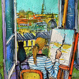 ARTIST PAINTING BY THE WINDOW - watercolor on paper Mona Edulesco by Mona Edulesco