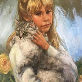 Ashley and her Cat by Vel Miller