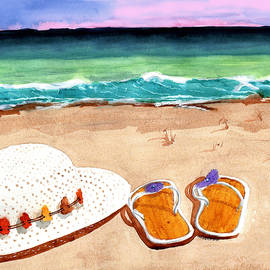 At Sunset, Barefoot In The Sand by Margaret Bucklew