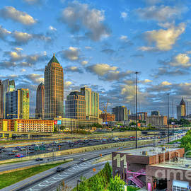 Atlanta Midtown To Downtown Sunset Reflections Skyline Cityscape Architectural Art   by Reid Callaway