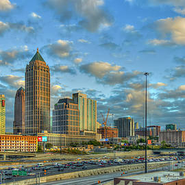 Atlanta Midtown To Downtown Sunset Reflections Panorama Skyline Cityscape Architectural Art by Reid Callaway