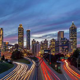 Atlanta Time-Lapse Sunset Panorama Jackson Street Bridge Architectural Cityscape Art by Reid Callaway
