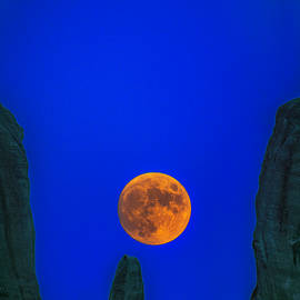 August Moon Rises Over Meteora, Greece by IC Papachristos