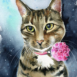 Auntie Sally Tabby Cat Painting by Dora Hathazi Mendes