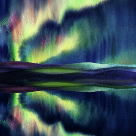 Aurora Borealis Magic Reflections Northern Lights Watercolor  by Irina Sztukowski