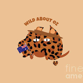Australia Day Cat and Flag Animal Print by Barefoot Bodeez Art